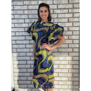 EIEN Summer Abstract Flutter Sleeve Midi Dress S
